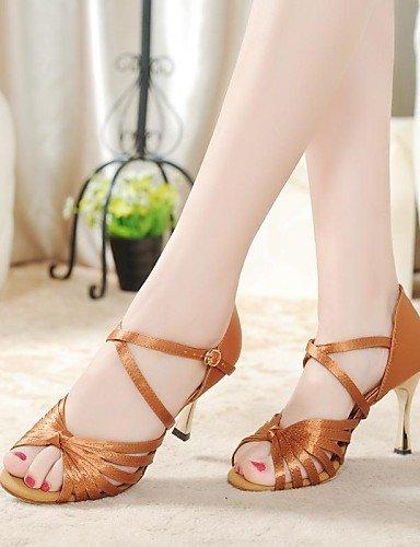 La mode moderne Non Sandales femmes personnalisables Chaussures de danse En satin Talon Brown,Brun,US8.5/EU39/UK6.5/CN40