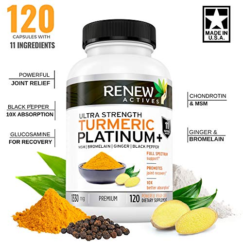 Renew Actives Turmeric Curcumin Supplement: Extra Strength Turmeric Platinum + Supplement with 95% Curcuminoids, Ginger and Bioperine Black Pepper - Inflammation and Joint Pain Relief - 120 Capsules