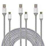 Micro USB Cables, CIKOO 3 Pack 10Ft Micro USB 2.0 High Strength Nylon Braided Charging Data Cable for Samsung, Nexus, LG, Sony, HTC, ZTE, Huawei Android Smartphone Tablet and More