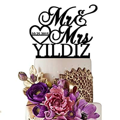 Sugar Yeti Brand Made in USA Cake Toppers Custom Personalized Mr & Mrs With Last Name bottom and Small Heart Wedding Cake Toppers With Your Last Name Acrylic Cake Topper for Special Events