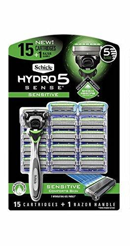 Schick Hydro5 Sensitive or Hydrate Razor 15-count