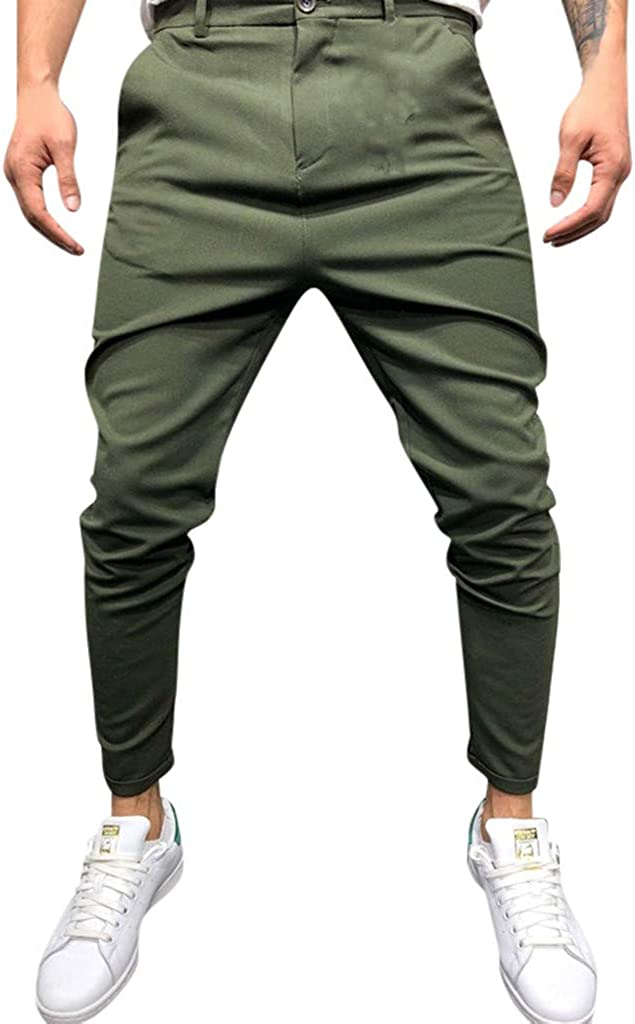 Pants for Men Skinny Fit Classic Casual Pure Color Outdoor Ankle-Length Pencil Pants