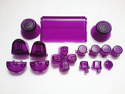 Gametown-Thumbsticks-Dpad-Trigger-Buttons-Set-2x-Springs-for-PS4-Controller-DualShock-4-Color-Transparent-Purple