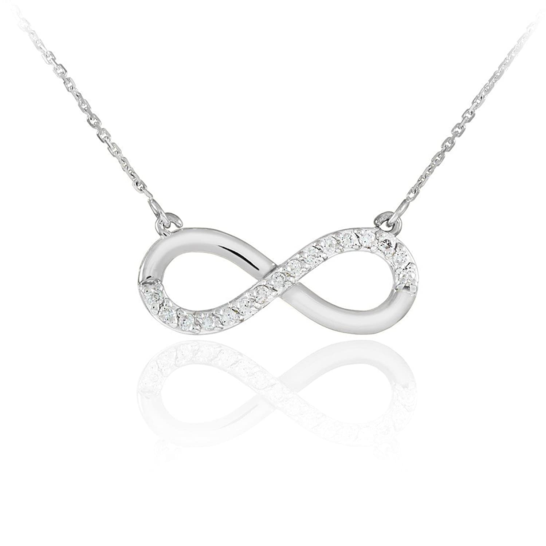 Fine 14k White Gold Infinity Polished Pendant Necklace with Diamonds