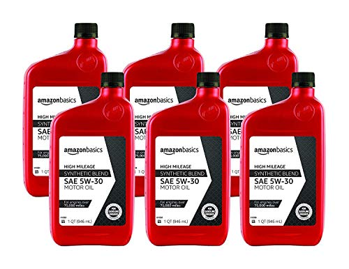 AmazonBasics High Mileage Motor Oil, Synthetic Blend, 5W-30, 1 Quart, 6 Pack