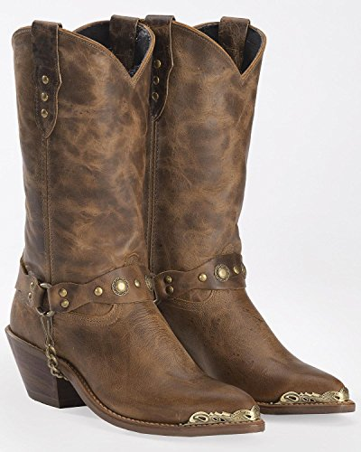 (Abilene Women's Distressed Harness Cowgirl Boot Pointed Toe Tan 8.5 M US)