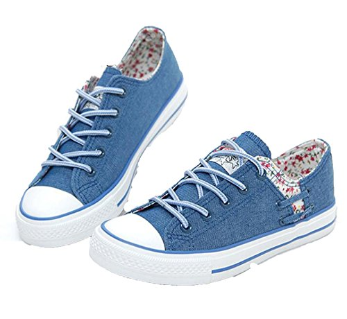 Women Vulcanize Shoes Lace-up Breathable Trainers Casual Walking Shoes Blue Canvas Size 35-39,Blue,6.5