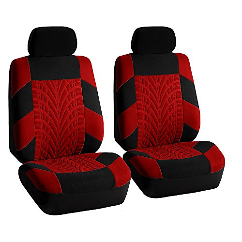 FH Group FH-FB071102 Travel Master Seat Covers Pair Set Airbag Ready & Rear Split Red/Black – Fit Most Car, Truck, Suv, or Van
