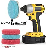 Drill Brush Bathroom Accessories - Cleaning Supplies - Five Piece Power Spin Scrubber Velcro Pad Kit - Hard Water Stain Remover - Tub Cleaner - Shower Scrubber - Glass Cleaner - Shower Door Cleaner
