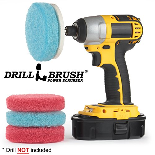 Drill Brush - Scrub Pads - Bathroom Accessories - Cleaning Supplies - Spin Scrubber Pad Kit - Hard Water Stain Remover - Shower Cleaner - Tub Cleaner - Bath Mat - Glass Cleaner - Shower Door Cleaner