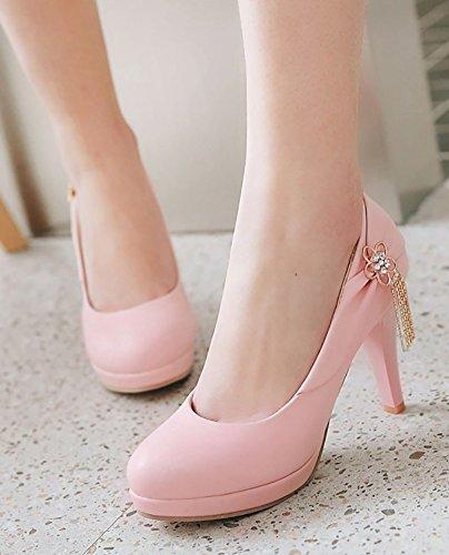 Chunky Womens Aisun Platform Toe Cut On Shoes Low Dressy Heel Round Rhinestone High Pink Slip Metallic Pumps B18drxfq8w