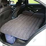 Walmeck Multifunctional Car Flocking Air Mattress Car Travel Inflatable Mattress Air Bed Cushion Camping Black