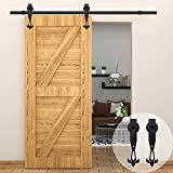 WINSOON 5 FT/60 Inch Industrial Overhead Barn Door Hardware Kit Inside Sliding Iron Track For Single Door Black New W Style