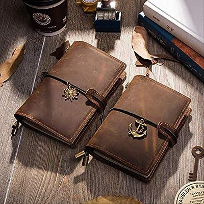 QWSAE notebookCuaderno de viajero Vintage de cuero genuino ...