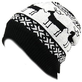28e7b62f431 Hawkins fleece lined fine knit beanie hat with reindeer Christmas design -  Black   white