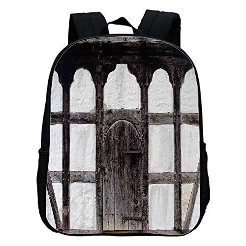Shutters Fashion Kindergarten Shoulder Bag,Old Door of the Farmhouse Facade Ancient Architectural Detail Timber Framing For -