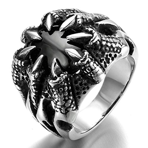 [Stainless Steel Ring for Men, Claw Ring Gothic Black Band 21MM Size 11 Epinki] (Boss Hog Costume)