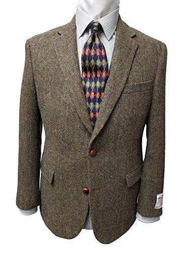 Harris Tweed Sportcoat in Olive Windowpane (46 Long)