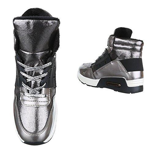 Ital-Design Sneakers Low Damenschuhe Sneakers Low Sneakers Schnürsenkel Freizeitschuhe Grau Silber WWW-32