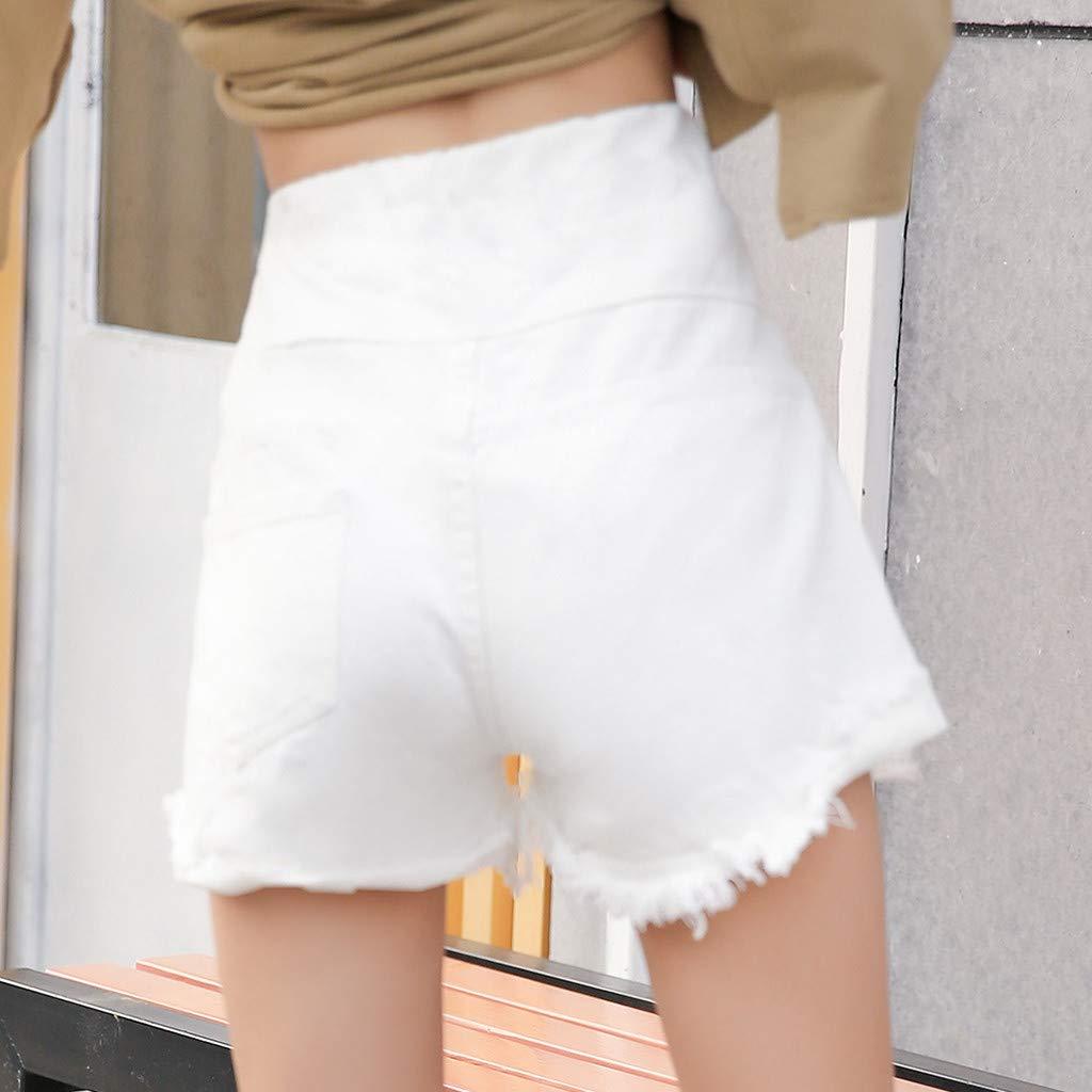 LMRYJQ-Mujer Embarazada Pantalones Vaqueros Rasgados Maternidad Pantalones Cortos s/ólidos Enfermer/ía Prop Vientre