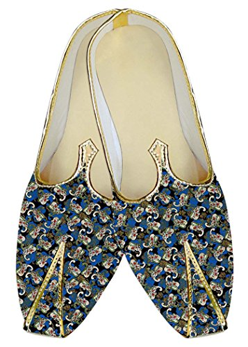 INMONARCH Mens Blue Wedding Shoes Floral Design MJ014497 XNwsQu4lv