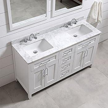 Ove Decors Tahoe 60W Marble Top Bathroom Double Sink Vanity, 60 Inch By 21