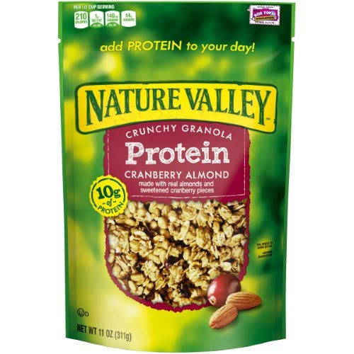 Nature Valley Protein Crunchy Granola - Cranberry Almond (Pack of 18)