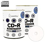Smart Buy CD-R 200 Pack 700mb 52x Printable White Inkjet Blank Recordable Discs, 200 Disc, 200pk
