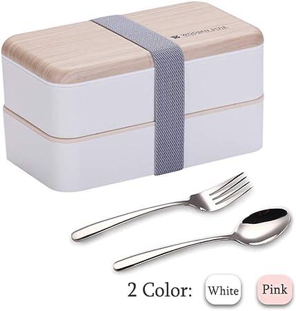 Binoster Fiambrera bento Box Original Lunch Box Lunchbox Caja de Almuerzo contenedor Bundle Divider Estilo japonés a Prueba de Fugas con Acero Inoxidable Utensilios Cuchara y Tenedor (Blanco): Amazon.es: Hogar