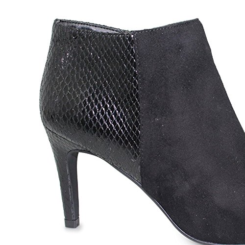 Lunar Women's Harper, Heeled Ankle Boot in Black Micro, Sizes 3,4,5,6,7,8 Black