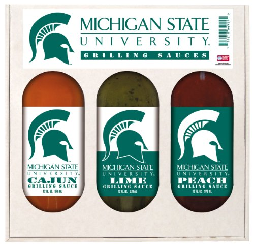 Michigan State Spartans NCAA Grilling Gift Set (12oz Cajun, 12oz Lime, 12oz Peach) ()