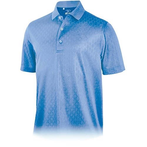 (Monterey Club Mens Diamond Jacquard Polo Blue 2XL)