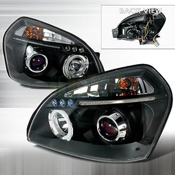2005 - 2009 Hyundai Tucson Halo LED proyector faros delanteros, color negro: Amazon.es: Coche y moto