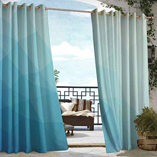 VIVIDX Outdoor Curtain Panel for Patio,Teal and White,Great for Living Rooms & Bedrooms,W108x84L Blue Pale Blue