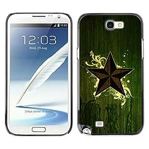QCASE / Samsung Note 2 N7100 / símbolo de la estrella del arte naturaleza verde eco mística / Delgado Negro Plástico caso cubierta Shell Armor Funda Case Cover