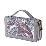 Women's Double Zipper Wallet Large Clutch Cellphone Bag with Wristlet and ID Window (Retro Gray-1)