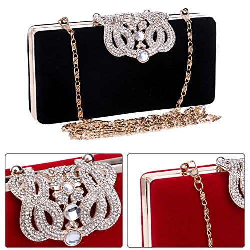 Amazon.com: Clutch Purse Evening Bags For Womens Chain Dress Handbag Crystal Wedding Black: Clothing