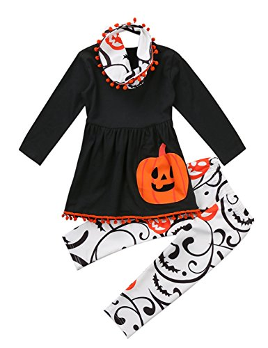 Infant Baby Girls Clothes Pumpkin Print Tassel Tops Floral Legging Pant For Halloween Outfit Set (tag: 90/2-3 Years, Black)