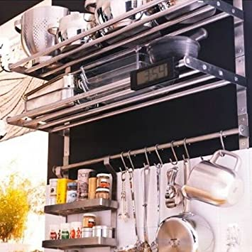 Ikea Grundtal Stainless Steel Kitchen Set Including 2 Shelves, 1 Rail And 5  Hooks