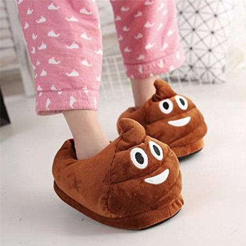 Amazon.com | OULII Cotton Winter House Slippers Funny Plush Slippers Non Slip Cute Indoor Slippers (Shit Face) | Slippers