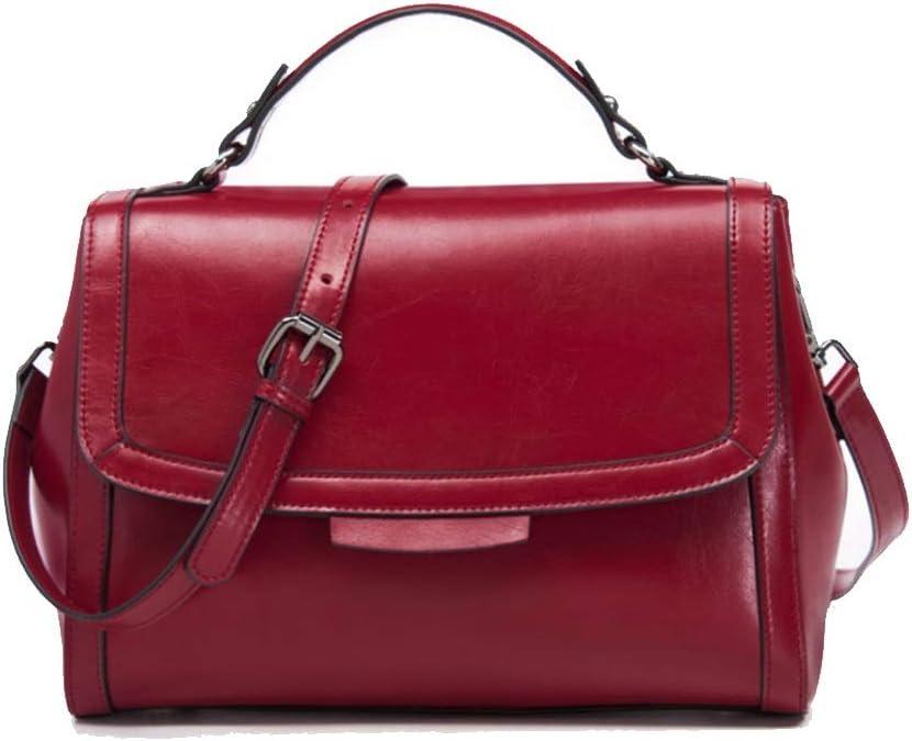 Crossbody bolsa Hombro de cuero original hecho a mano retro de las mujeres Slung bolso monedero del sobre for el recorrido de la compra de terceros Bolsos cruzados ( Color : Red , Size : 28x13x21cm )
