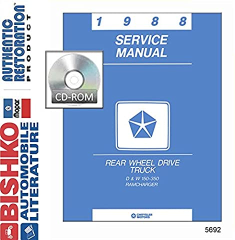1988 Dodge Pickup Truck & RAMCharger Shop Service Repair Manual CD Engine Wiring - Dodge Ramcharger Truck