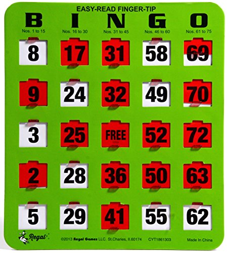 Regal Games Easy Read Green Bingo Heavy Duty 5 Ply Jumbo Shutter Slide Bingo Cards with Big Tabs (100 Pack)