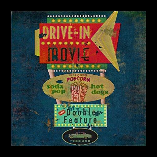 Buyartforless IF IF ML MW1239X 1.25 Blk Plexi Framed Retro Drive in Movie Theater Sign 12X12 Art Print Wall Decor by Marilu ()