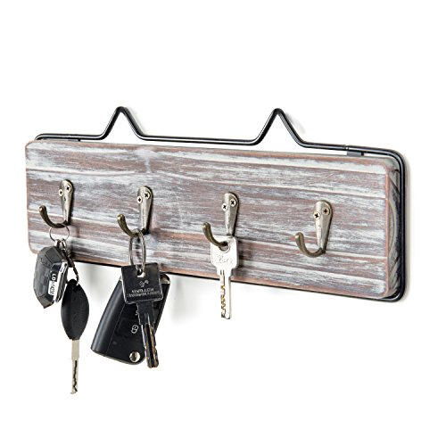 Plaque Key - MyGift Wall-Mounted Torched Wood w/Black Metal Frame Entryway Key Hook Rack