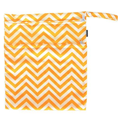 Damero de viaje lindo mojado bebé y pañales de tela en seco bolsa de asas Organizar(Tree) Yellow Chevron