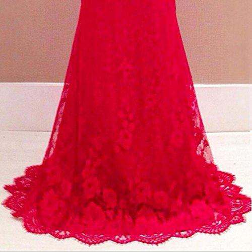 QIYUN.Z Para Mujer Vestido De Fiesta V-Cuello Profundo Sin Espalda De Encaje Sin Mangas Vestido Rojo Largo Maxi Rojo