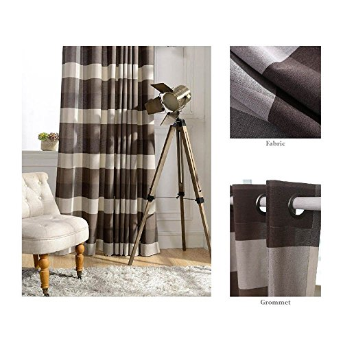Chezmoi Collection Payton Traditional Plaid Grommet Top Window Curtain Panel (52