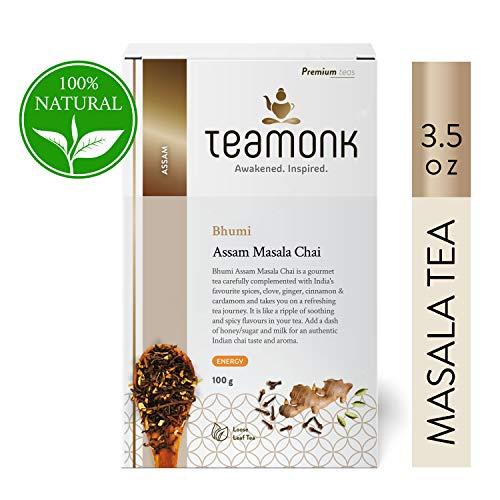 Teamonk Bhumi Assam Masala Chai Black Tea Loose Leaf (50 Cups)   Tea for Boosting Energy   100% Natural Cinnamon Tea, Clove Tea, Cardamom Tea, Ginger Tea   Pure Loose Leaf Tea   No additives - 3.5oz