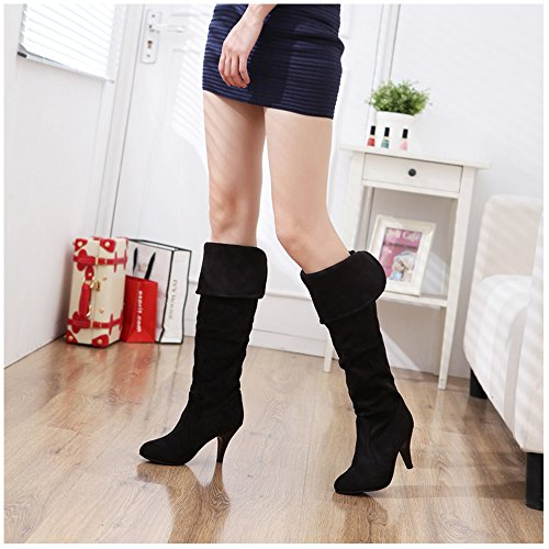 TAOFFEN on Stiletto Pull Shoes Autumn Black Long Winter Boots Women Classical PWn4XqPr